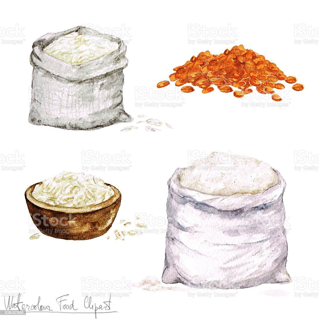 Watercolor Cooking Clipart - Flour and Cereal vector art illustration