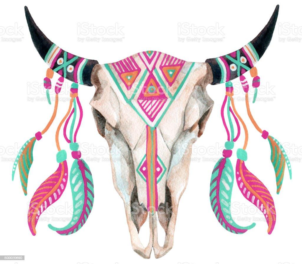 watercolor cow skull vector art illustration