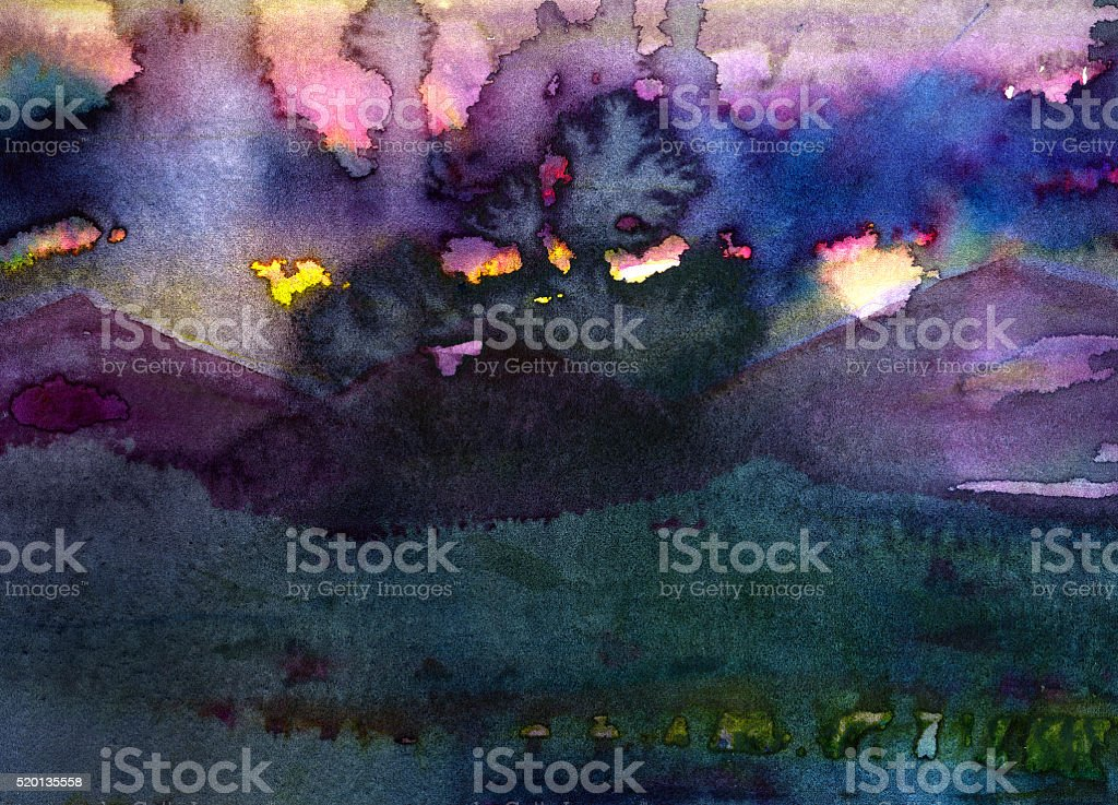 watercolor dark  landscape background painting vector art illustration