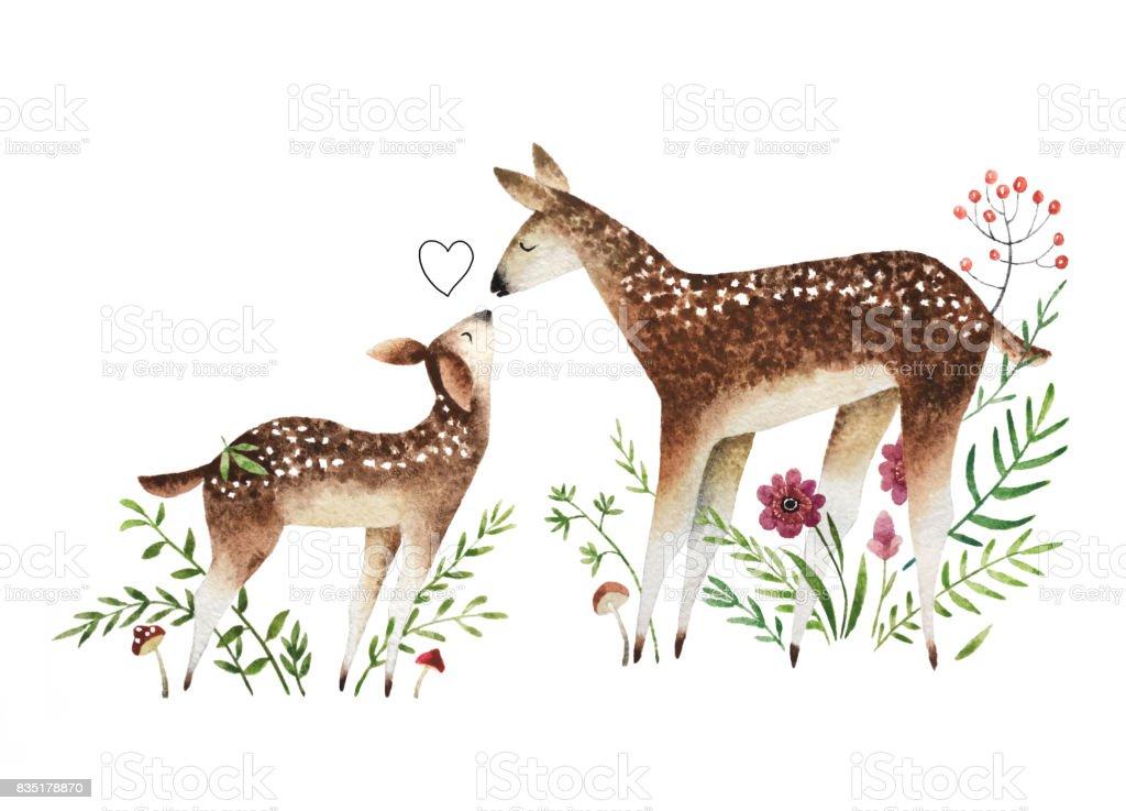 Watercolor deers vector art illustration
