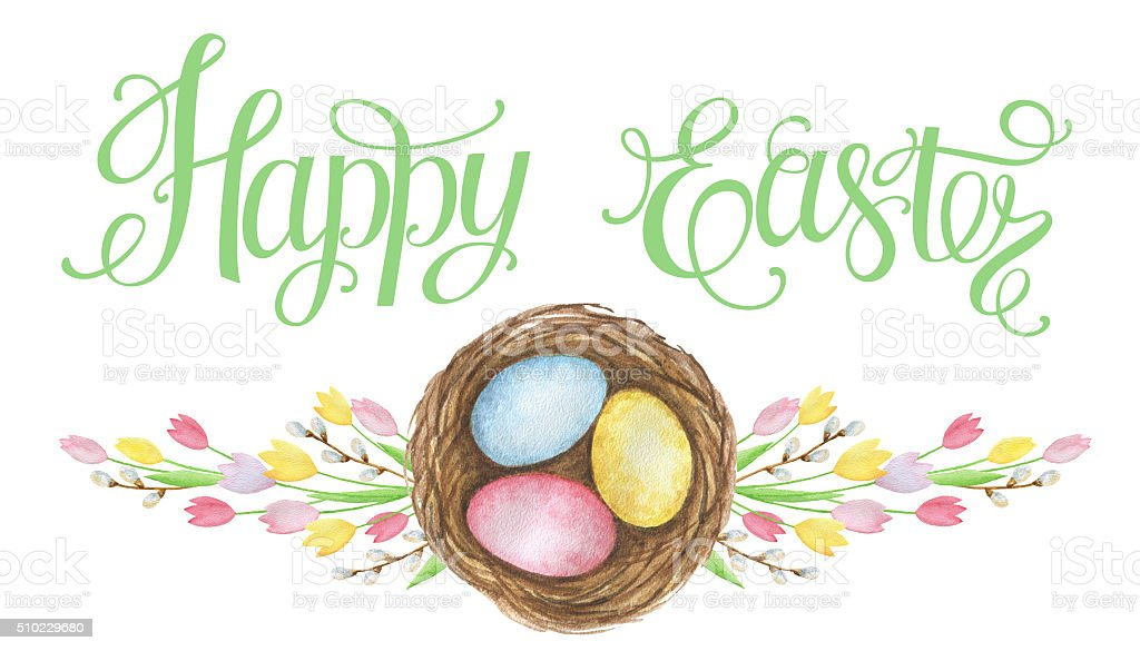 Watercolor Easter nest with eggs. vector art illustration