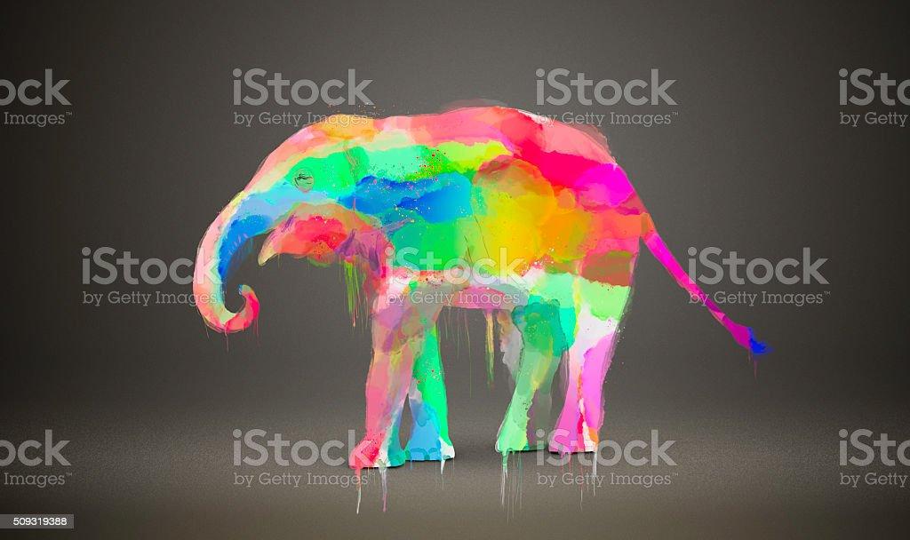 Watercolor Elephant vector art illustration