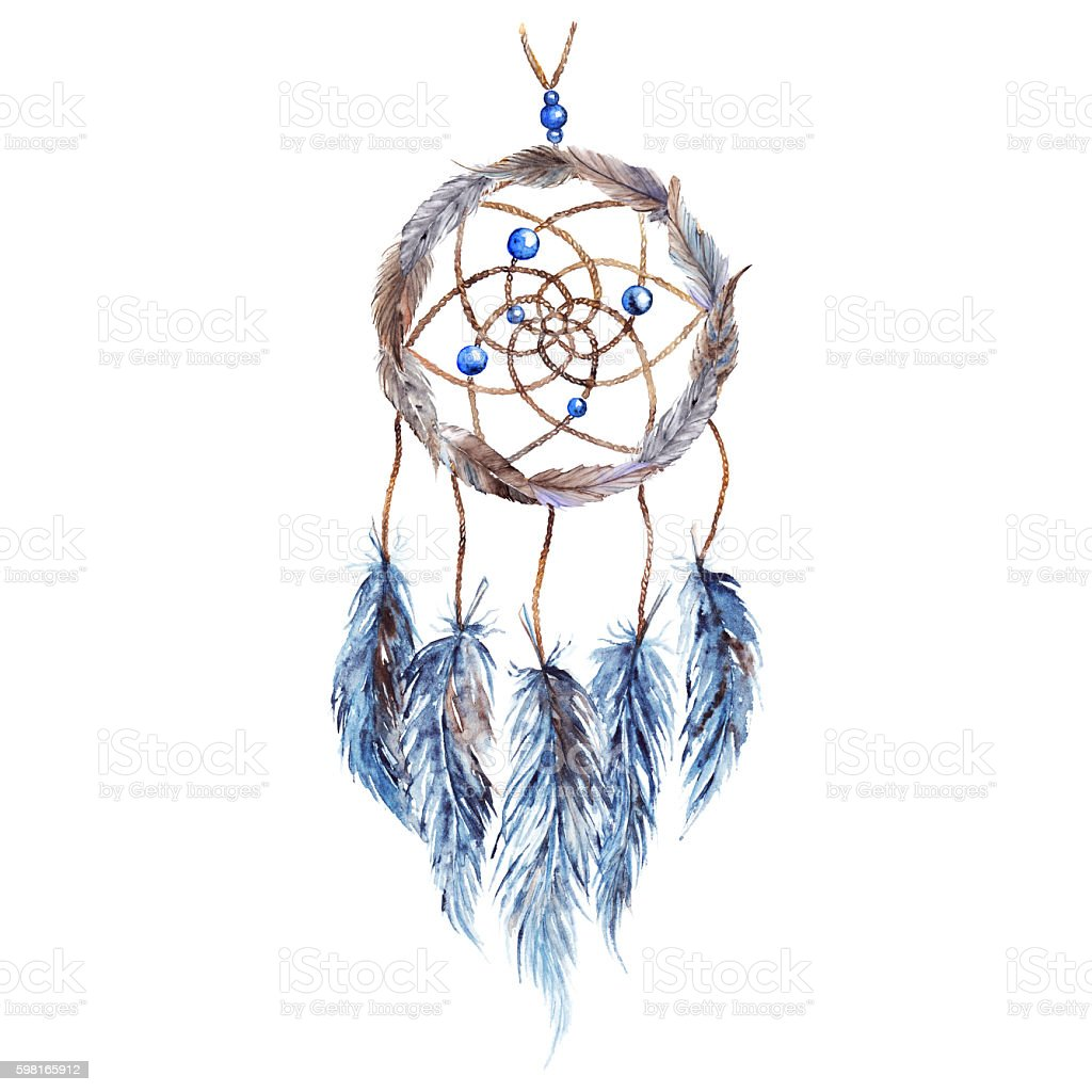 Watercolor ethnic tribal hand made feather dreamcatcher isolated vector art illustration