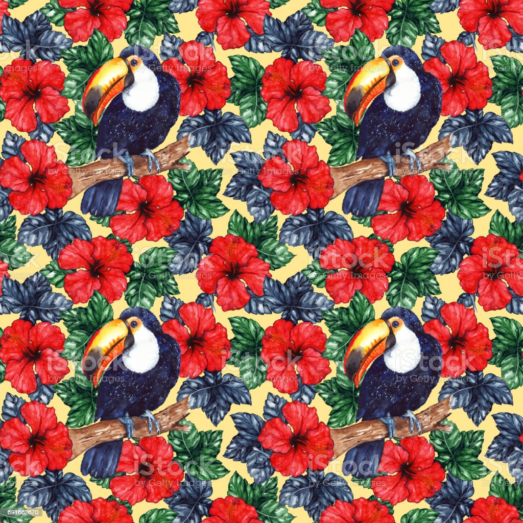 Watercolor exotic tropical flower hibiscus animal bird toucan...