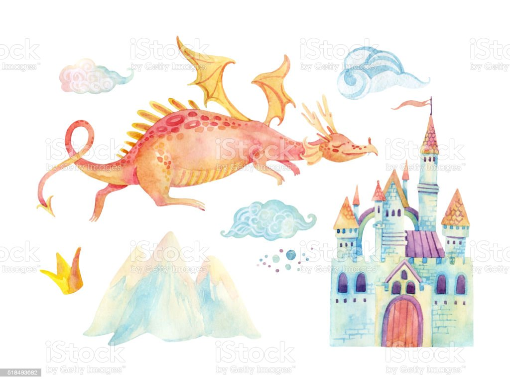 Watercolor fairy tale collection with cute dragon and magic castle vector art illustration