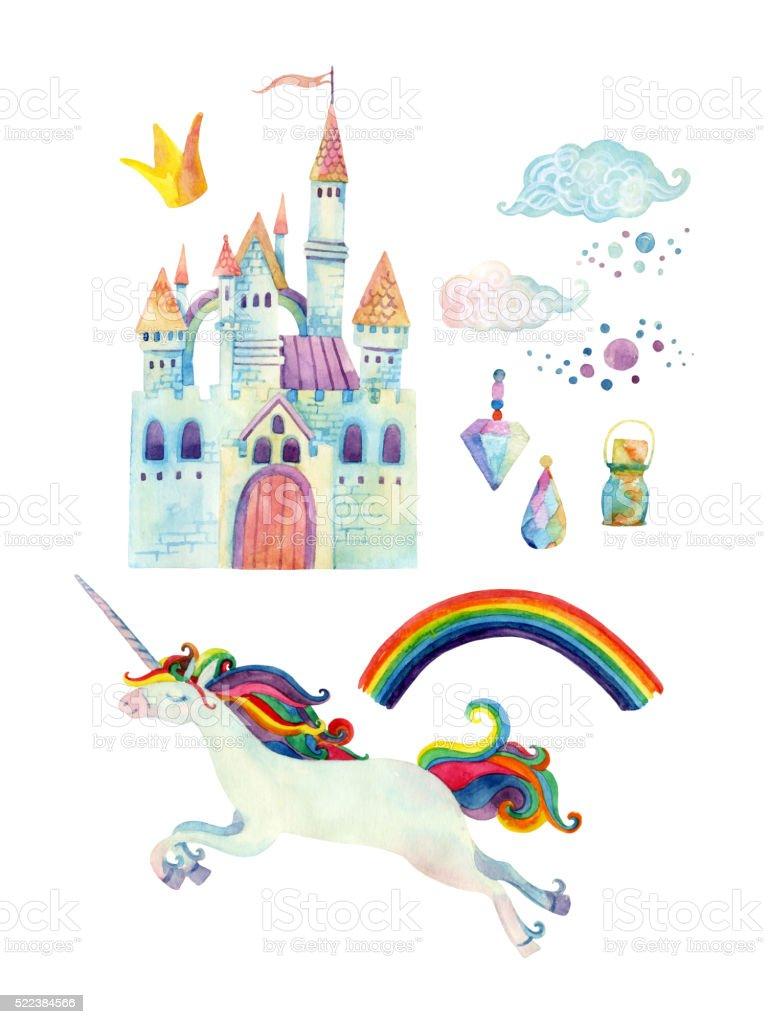 Watercolor fairy tale collection with unicorn, rainbow, castle vector art illustration