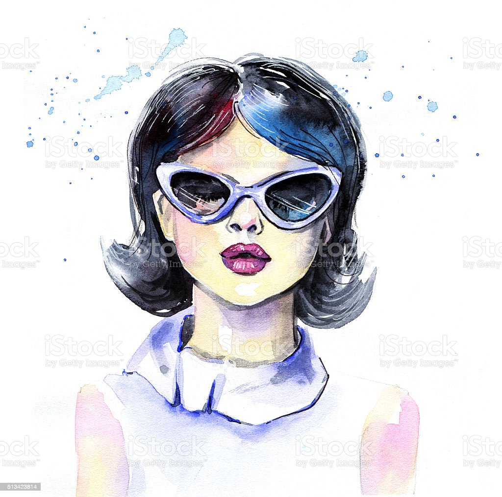 Watercolor fashion girl with sunglasses vector art illustration