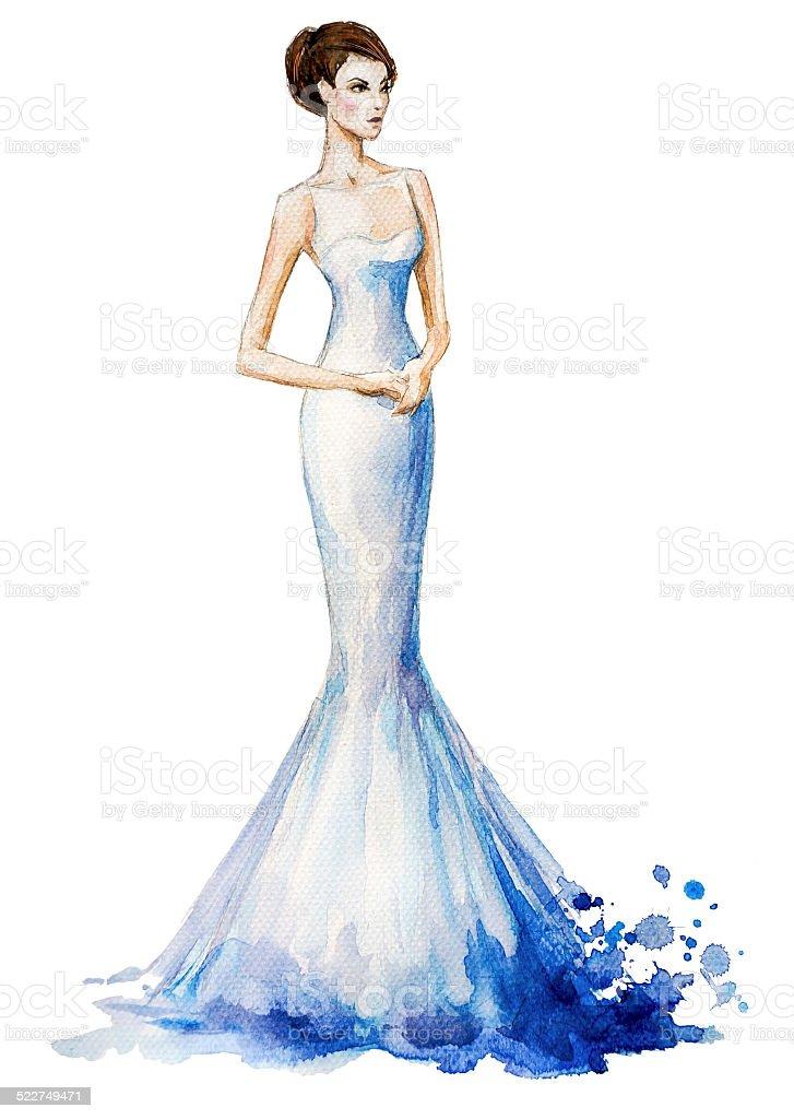 Watercolor fashion illustration, girl in a long wedding dress. vector art illustration