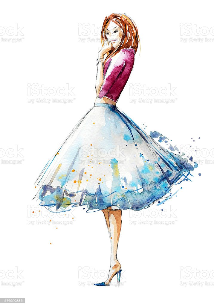 Watercolor fashion illustration, hand painted royalty-free stock vector art