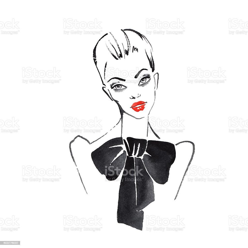 Watercolor fashion sketch 1 vector art illustration