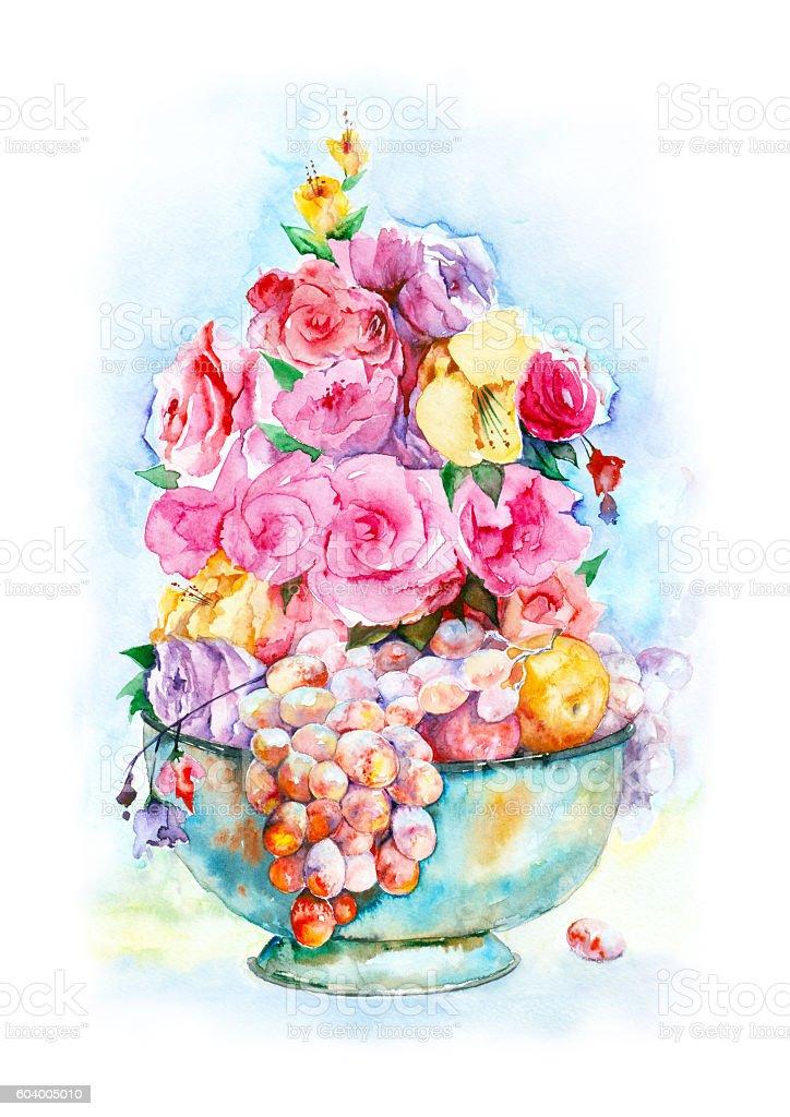 Watercolor floral arrangement. vector art illustration