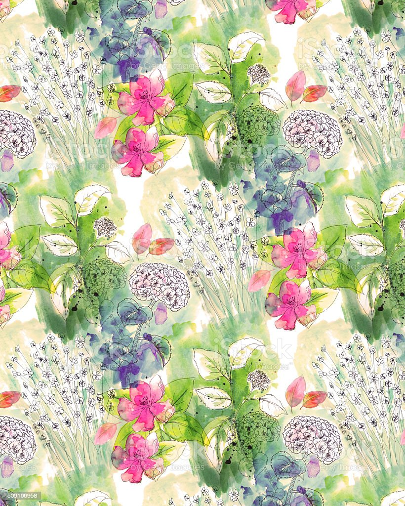 Watercolor Floral Background Pattern vector art illustration