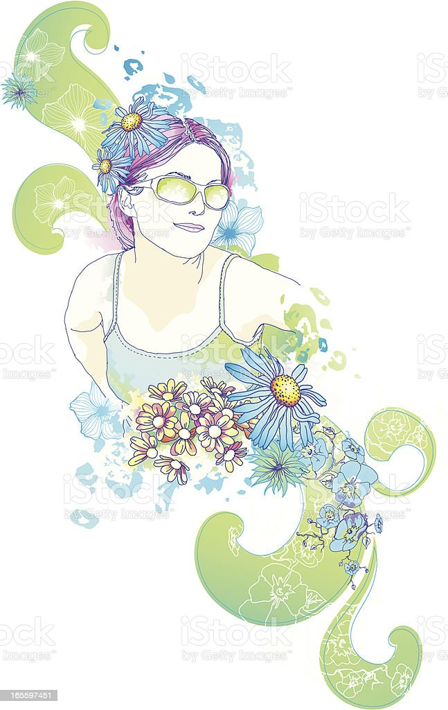 Watercolor Floral Design vector art illustration