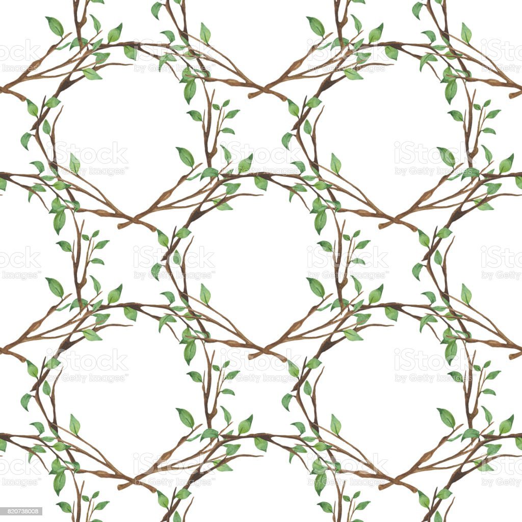 Watercolor floral seamless pattern with branches and green leaves vector art illustration