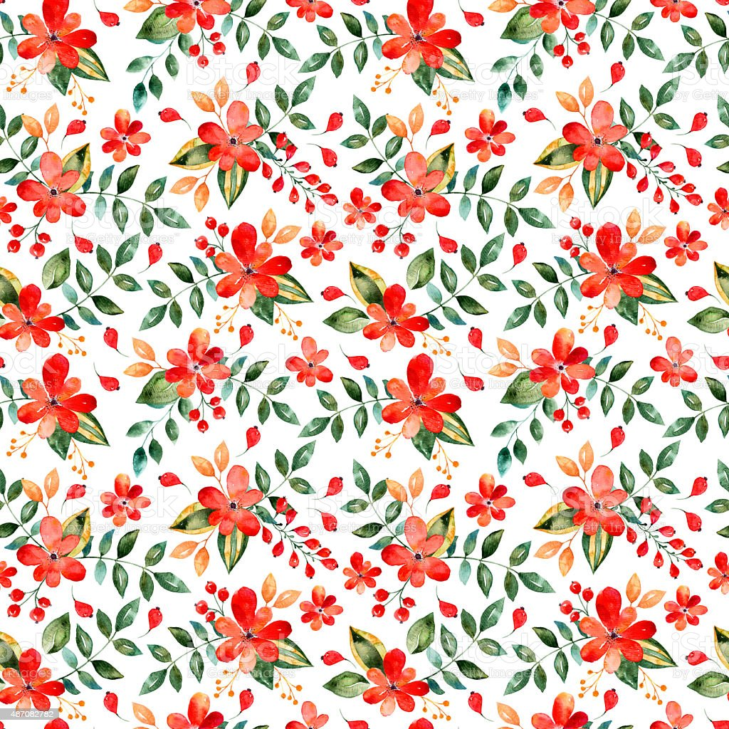 Watercolor floral seamless pattern with red flowers and leafs vector art illustration