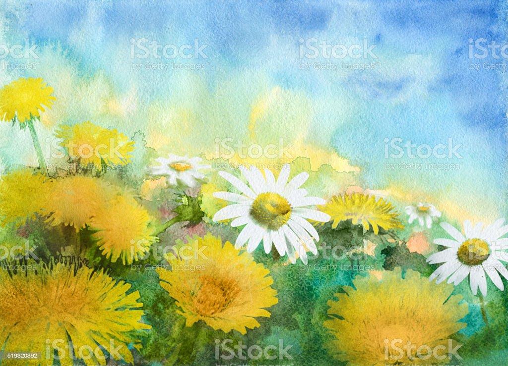 watercolor flowering meadow vector art illustration