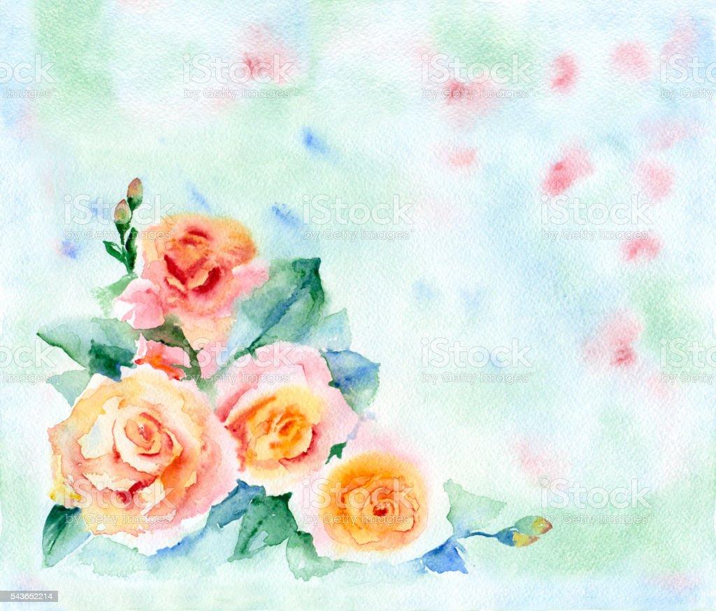 Watercolor flowers card. vector art illustration