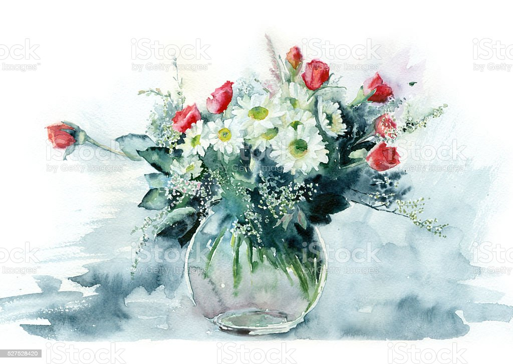 Watercolor flowers in a glass vase. vector art illustration