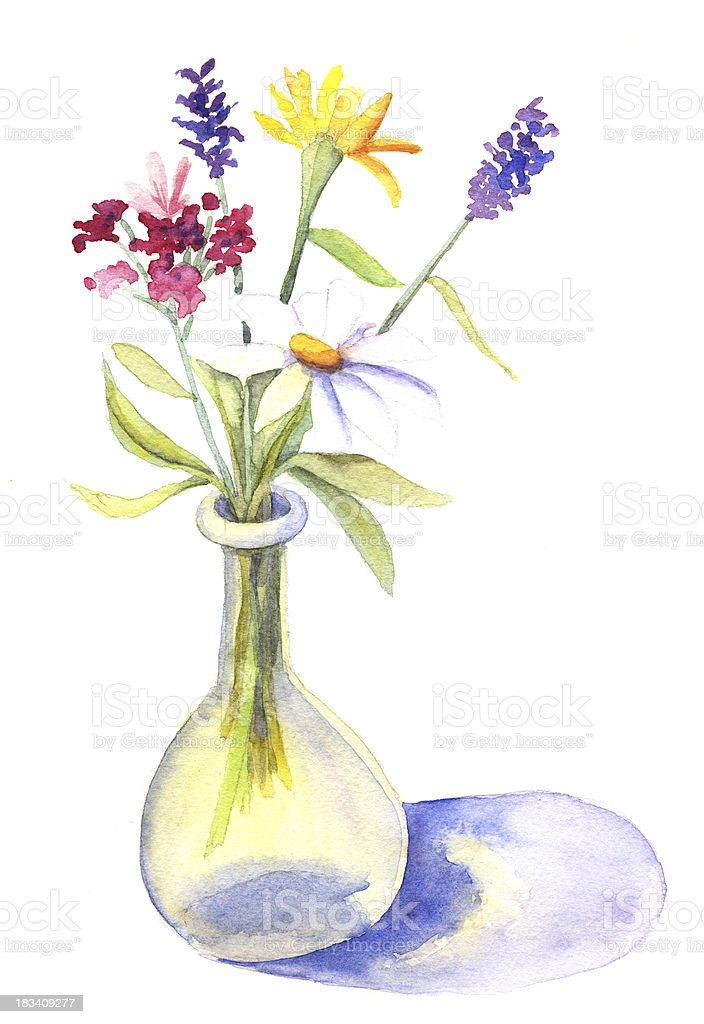 Watercolor Flowers in Vase vector art illustration