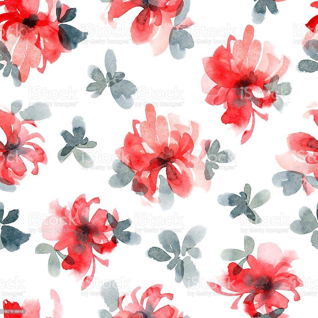 Watercolor flowers pattern vector art illustration