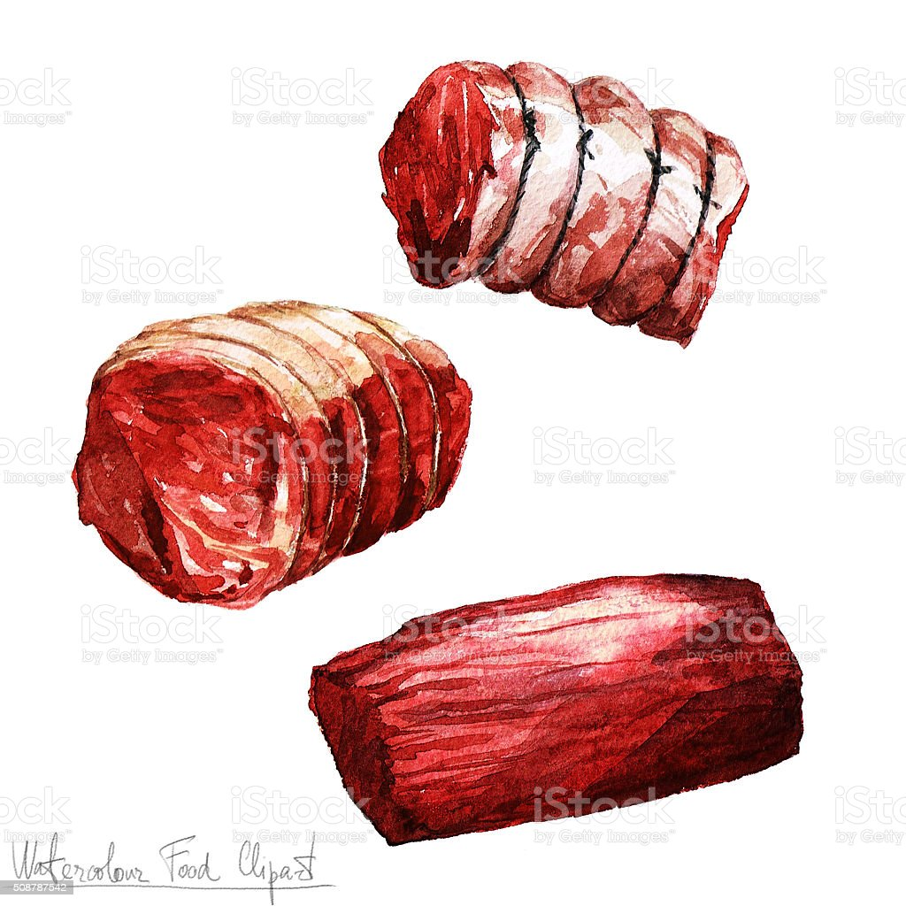 Watercolor Food Clipart - Meat vector art illustration