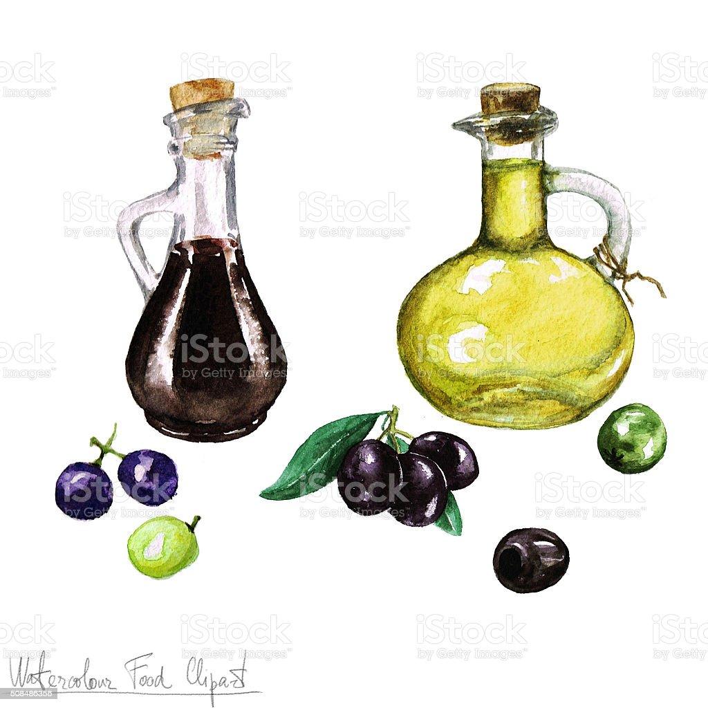 Watercolor Food Clipart -  Olive oil and Vinegar vector art illustration