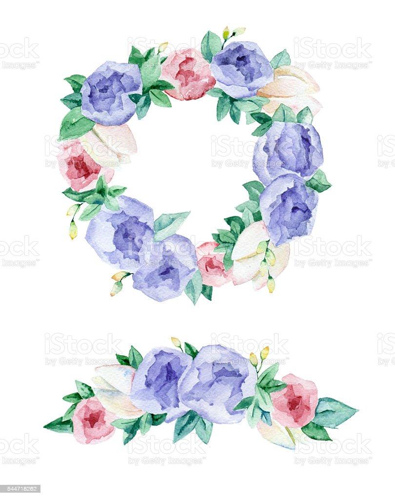 Watercolor frame of flowers. vector art illustration