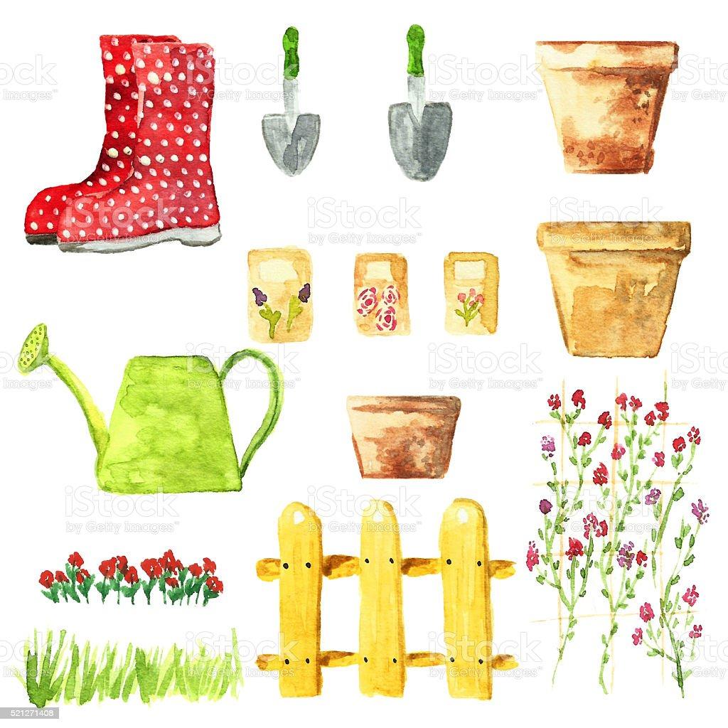 Watercolor garden set. vector art illustration