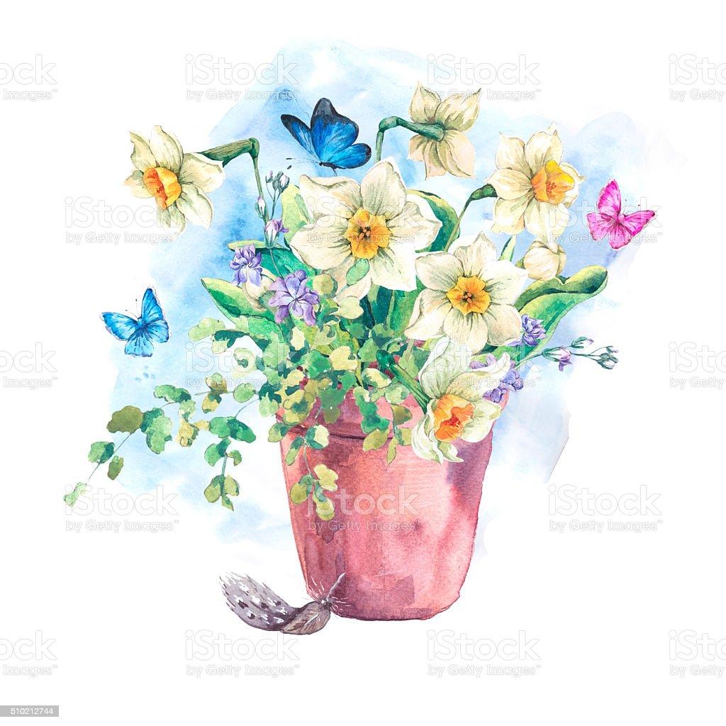 Watercolor Garden Spring bouquet in flower pots vector art illustration