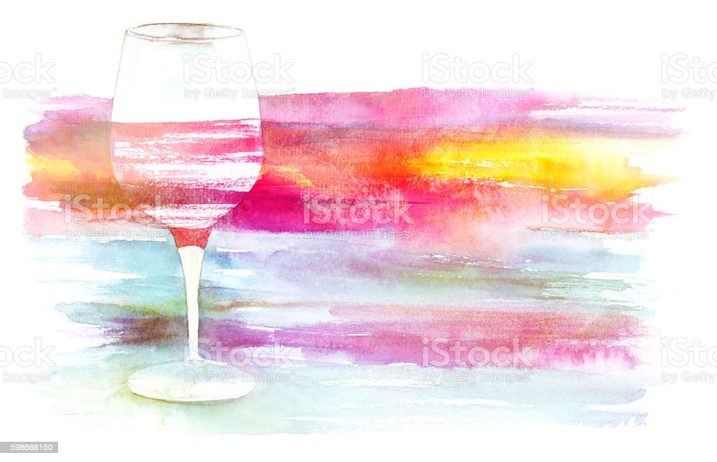Watercolor glass of red wine with brush strokes texture vector art illustration