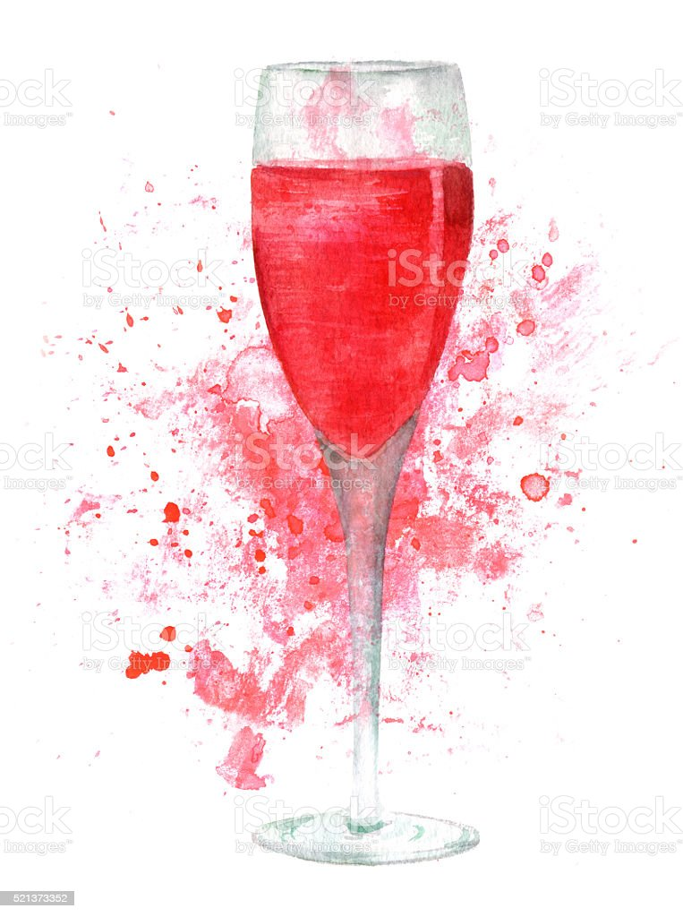 Watercolor glass of sparkling rose wine with background splash vector art illustration