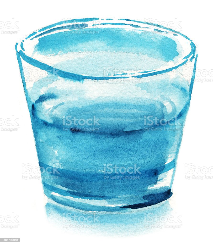Watercolor glass of water on white background vector art illustration