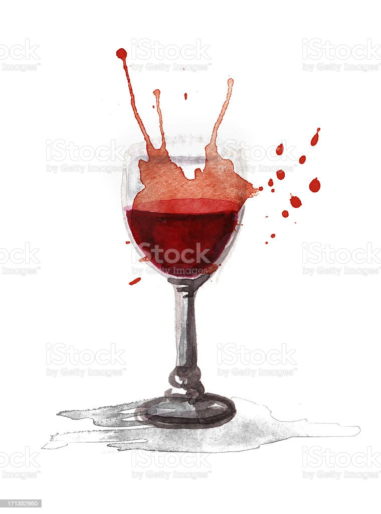 Watercolor Glass of Wine vector art illustration