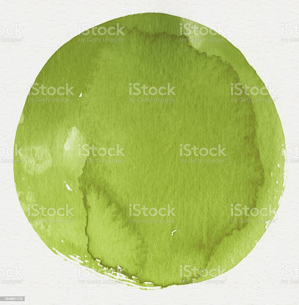 Watercolor Green Circle (Clipping Path) royalty-free stock vector art