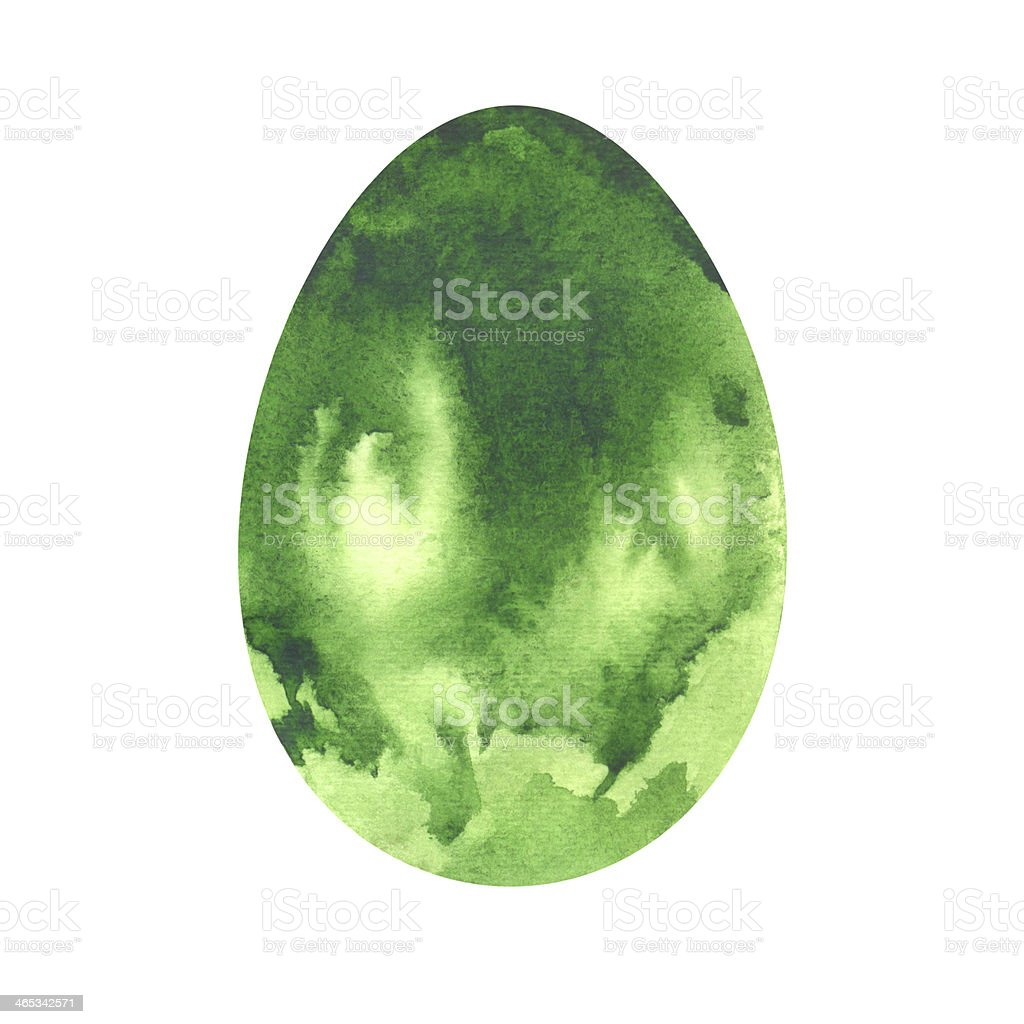 Watercolor green Easter Egg vector art illustration