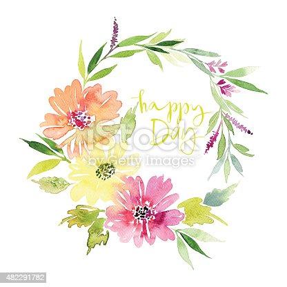 Открытка с цветами акварелью 754