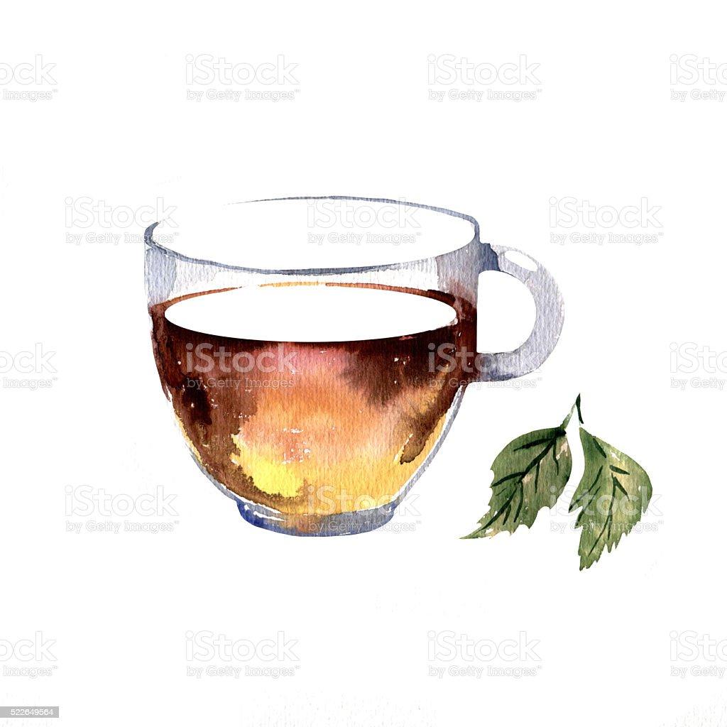 Watercolor hand drawn cup of tea. vector art illustration