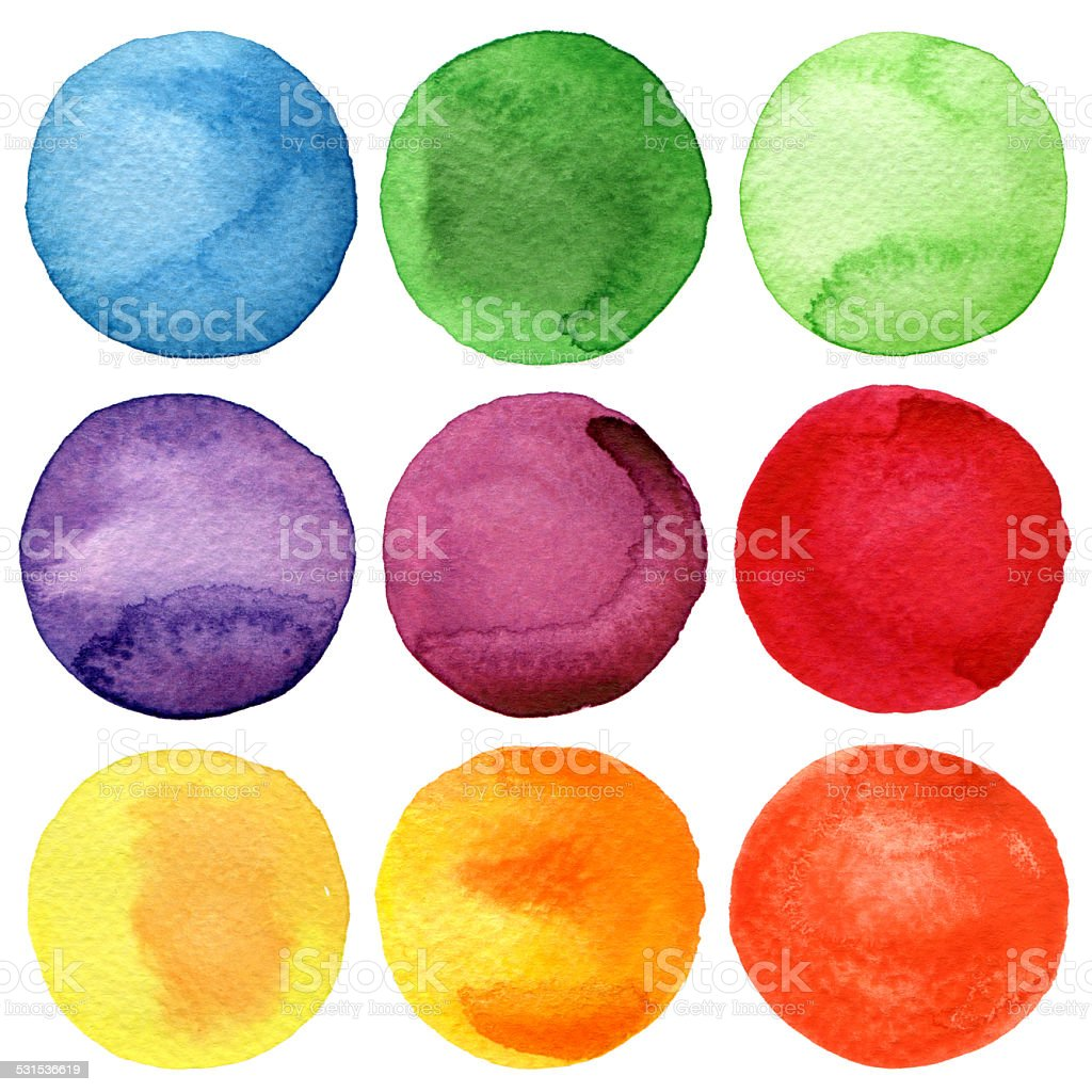 Watercolor hand painted circles collection vector art illustration