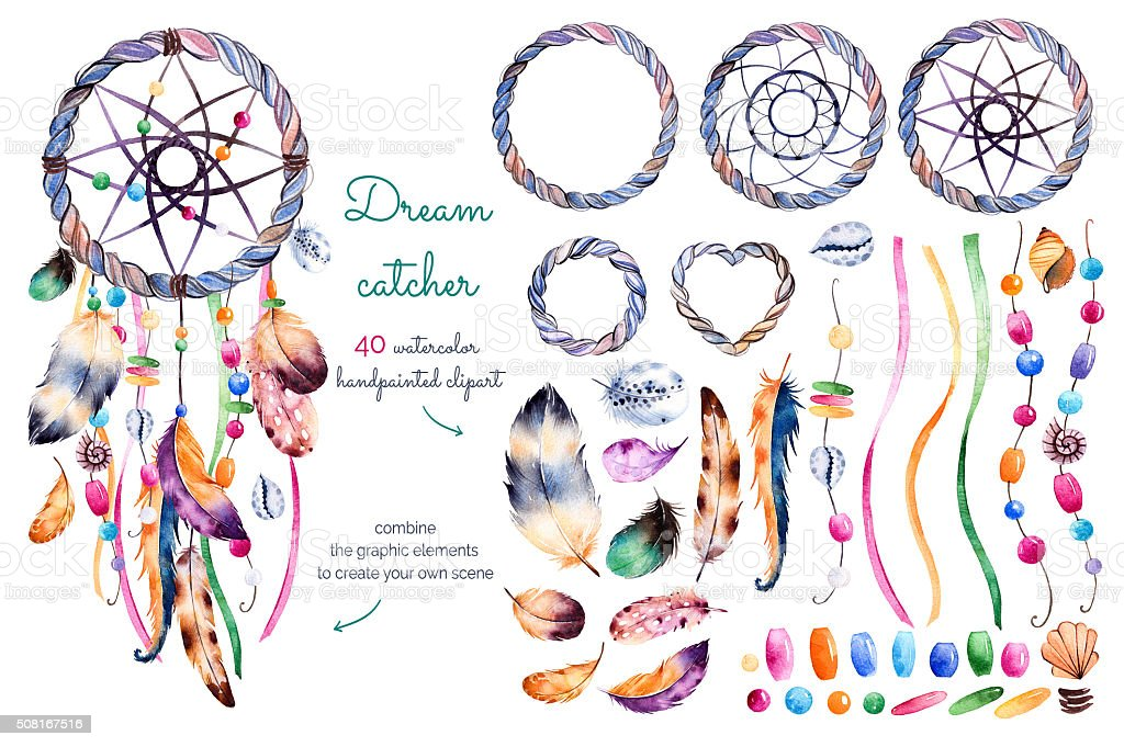Watercolor hand painted collection vector art illustration