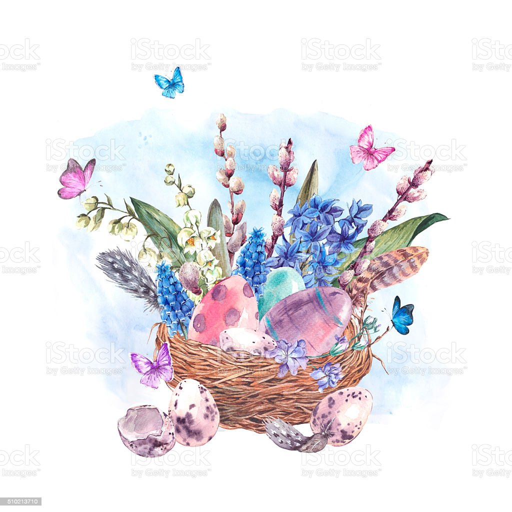 Watercolor Happy Easter greeting card, spring flowers bouquet an vector art illustration