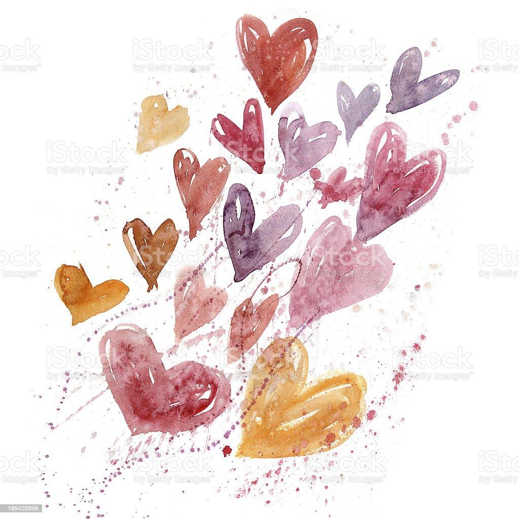 Watercolor hearts royalty-free stock vector art