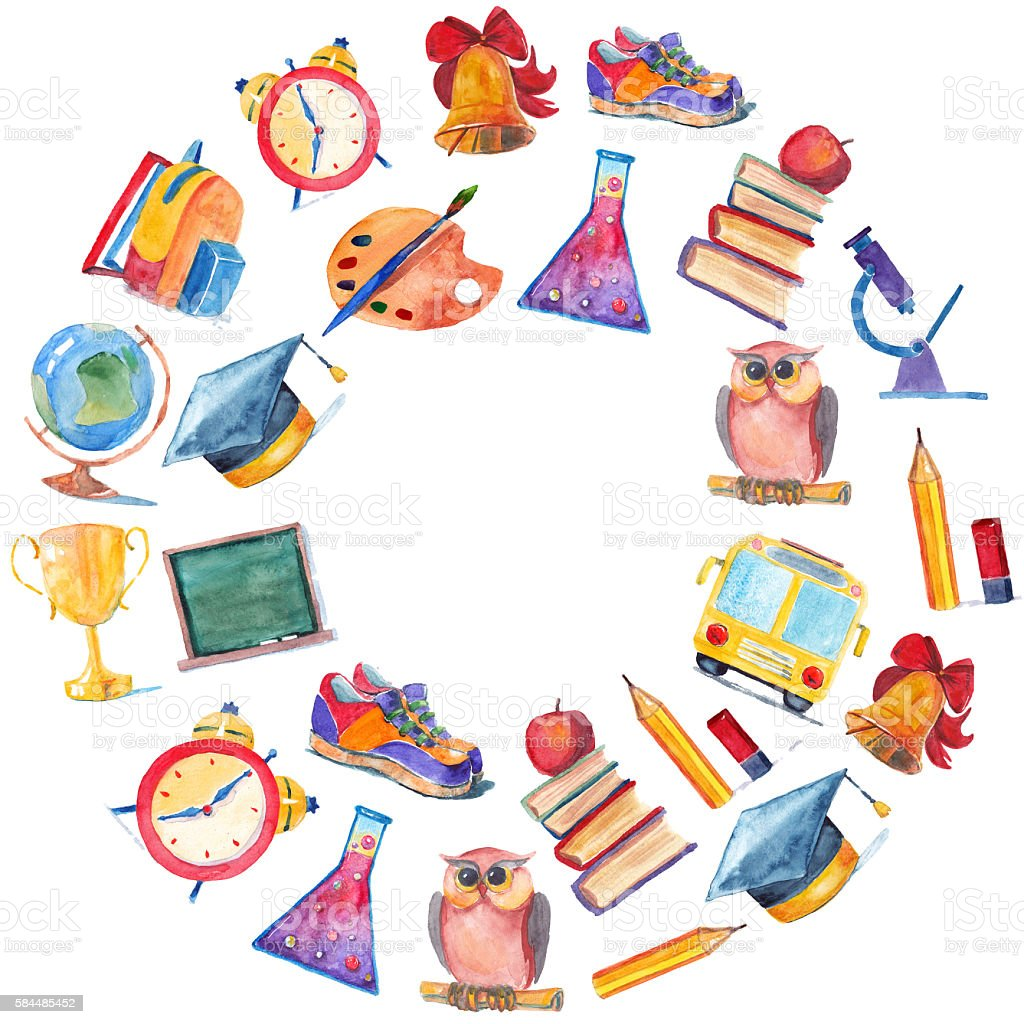 Watercolor Icons School And Education stock vector art ...