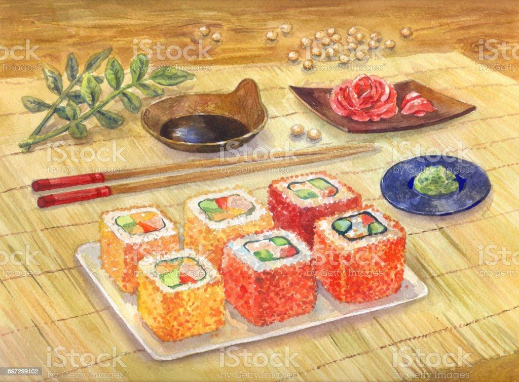 Watercolor illustration. Japanese food. Sushi or rolls, wasabi, ginger vector art illustration
