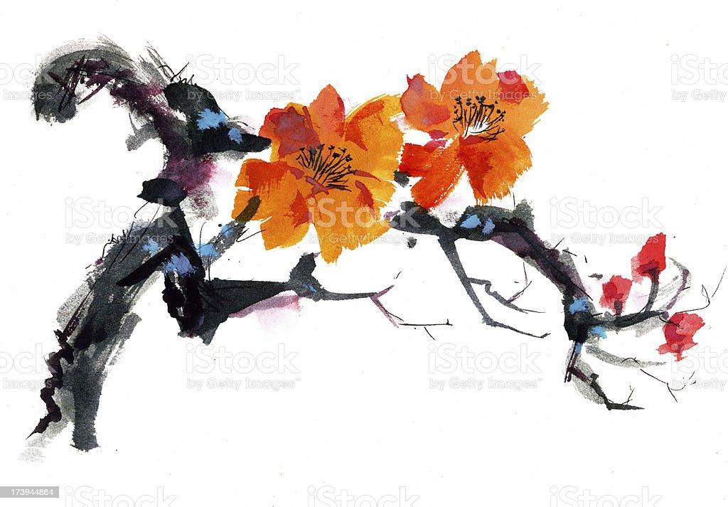 Watercolor illustration of an orange wild rose blossom vector art illustration