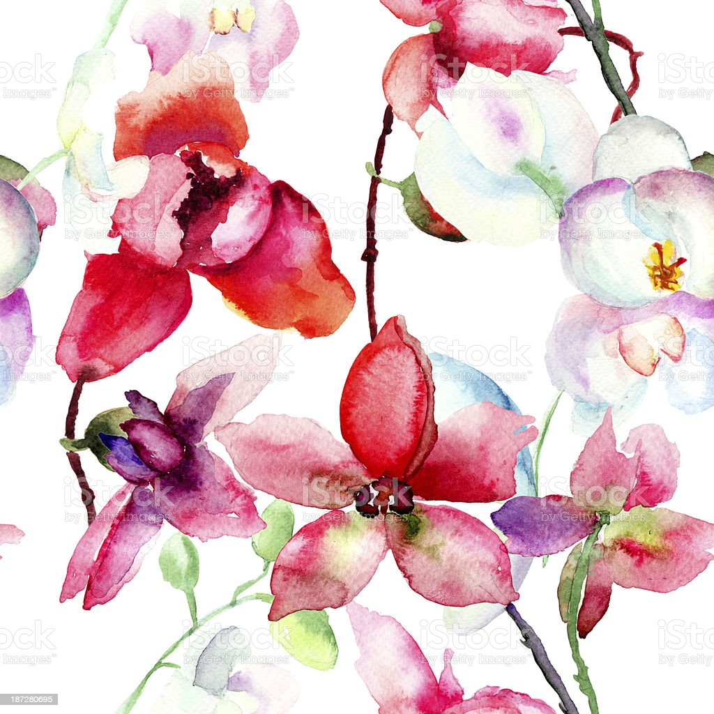 Watercolor illustration of beautiful orchid vector art illustration