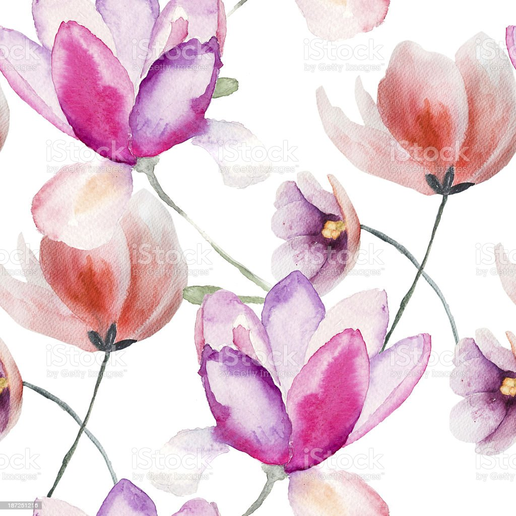 Watercolor illustration of colorful pink and purple flowers royalty-free stock vector art