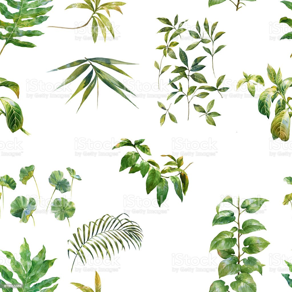 Watercolor illustration of leaf, seamless pattern stock photo