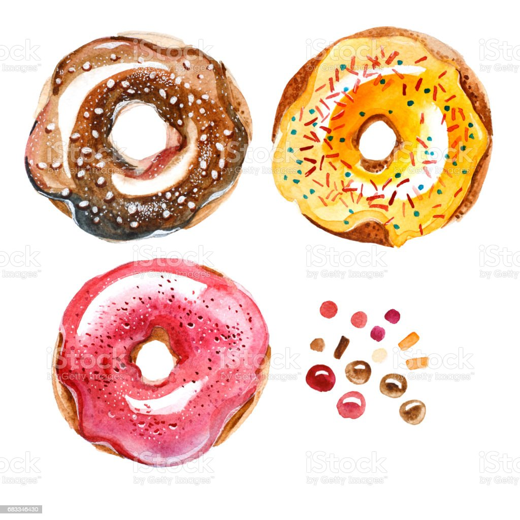 watercolor illustration. Set of different sweet donuts. Top view vector art illustration
