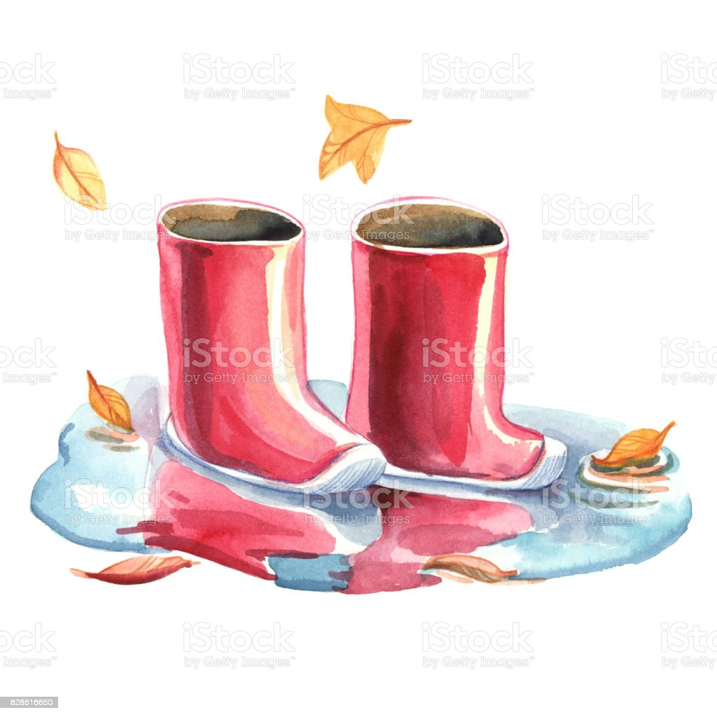 Watercolor illustration. The red rubber boots standing in a puddle. Autumn puddle with sky reflection isolated on white background. vector art illustration