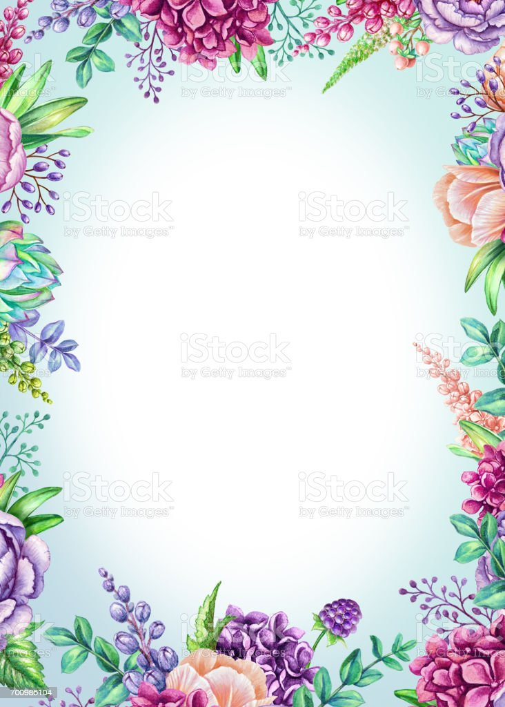 Watercolor Illustration Vertical Poster Floral Background Wild
